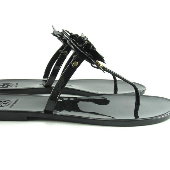 db783d500 NIB-Tory Burch Jelly Blossom Sandals Black 7 8 9